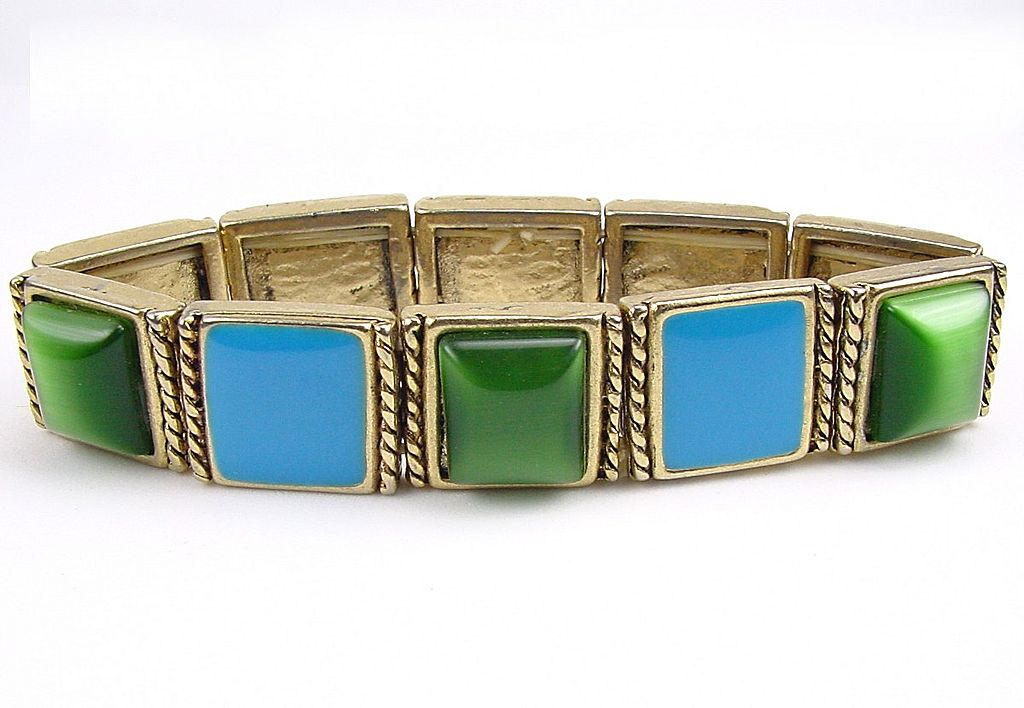 Vintage Stretch Bracelet Blue Enamel Green Moonglow Cabs
