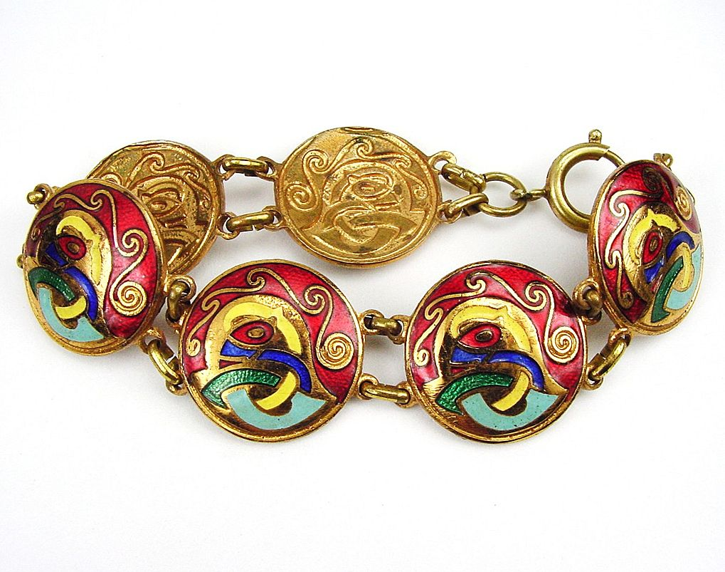 Celtic Design Enamel Bracelet in Red Green Blue Yellow