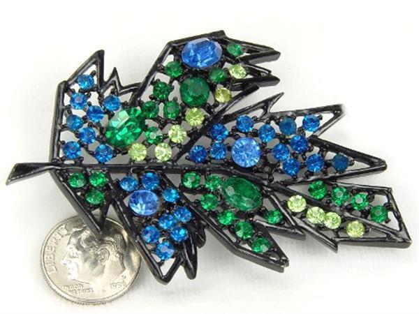 Luscious Leaf Brooch with Blue & Green RS Black Enamel
