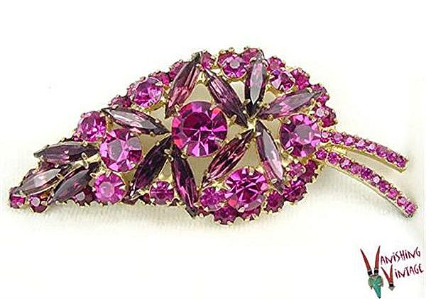 Juliana Layered Figural Leaf Brooch in Fuchsia & Purple RS