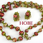 Vintage Hobe Demi Parure Striped Glass Beads & Crystals