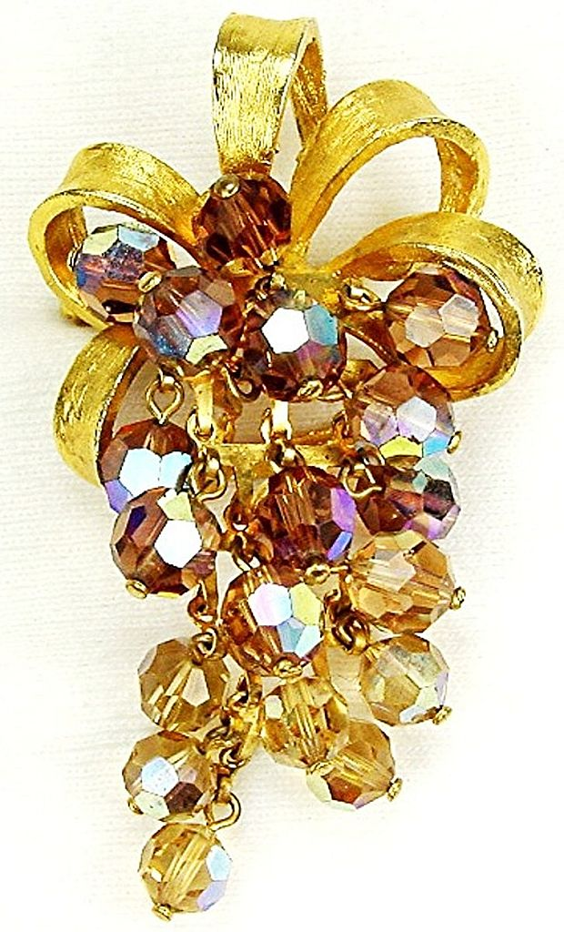 Creative Crystal Waterfall Brooch Topaz Colors