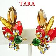 D&E for Tara RS Earrings in Hyacinth, Smoked Topaz & Emerald Green w AB