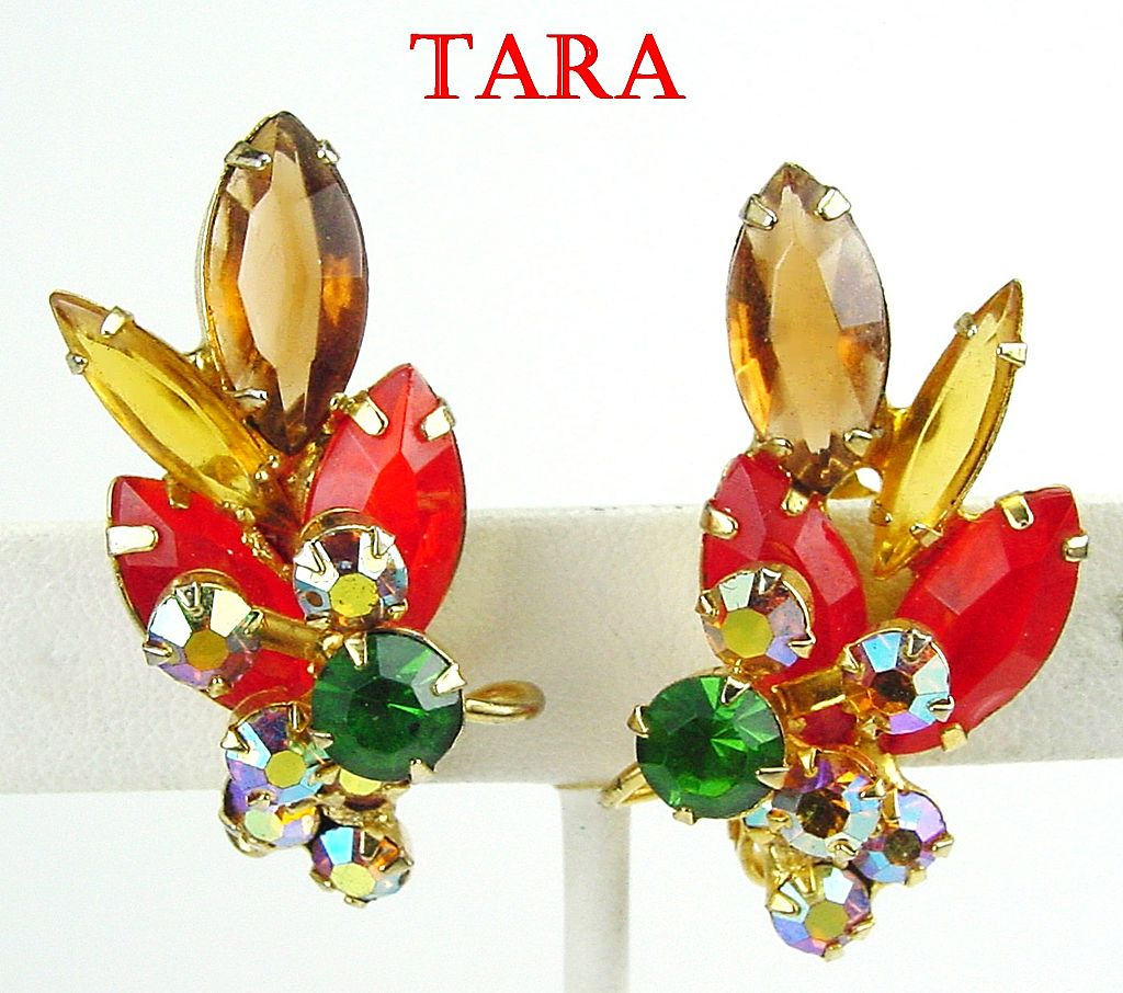 D&E for Tara RS Earrings in Hyacinth, Smoked Topaz & Emerald Green w AB