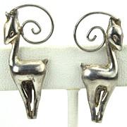 Mexico Pre Eagle Silver Art Deco Antelope Earrings