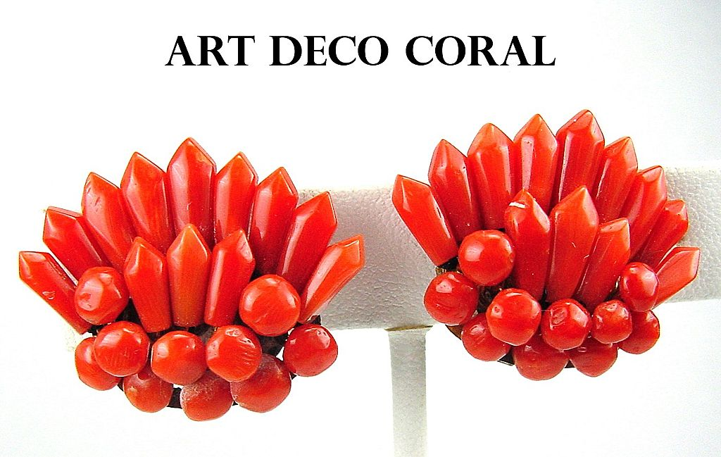 Glossy Sculpted Coral Button & Spike Art Deco Era Earrings