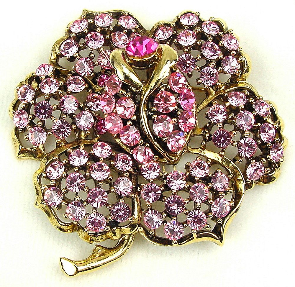 shimmering weiss pink rhinestone flower brooch vanishing. Black Bedroom Furniture Sets. Home Design Ideas