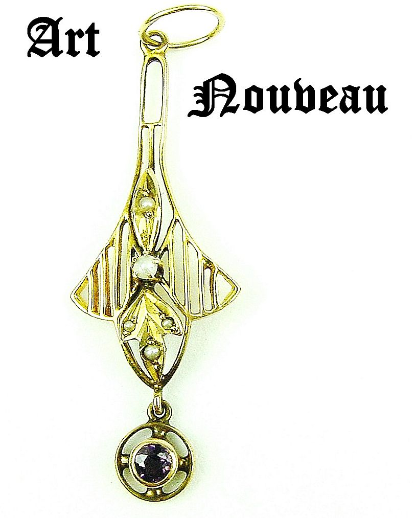 Art Nouveau 14K Lavalier with Amethyst Drop & Seed Pearls