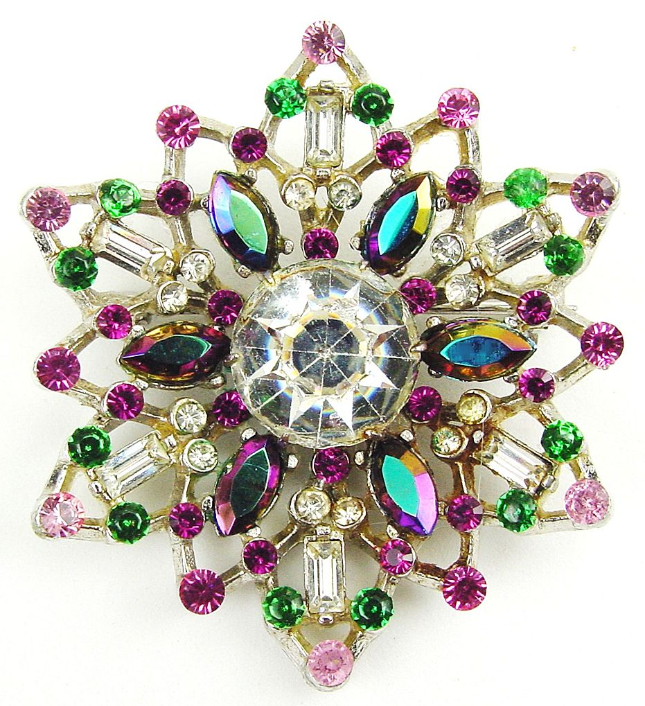 Shimmering Snowflake Shaped RS Brooch Pink, Green, White, AB Blue