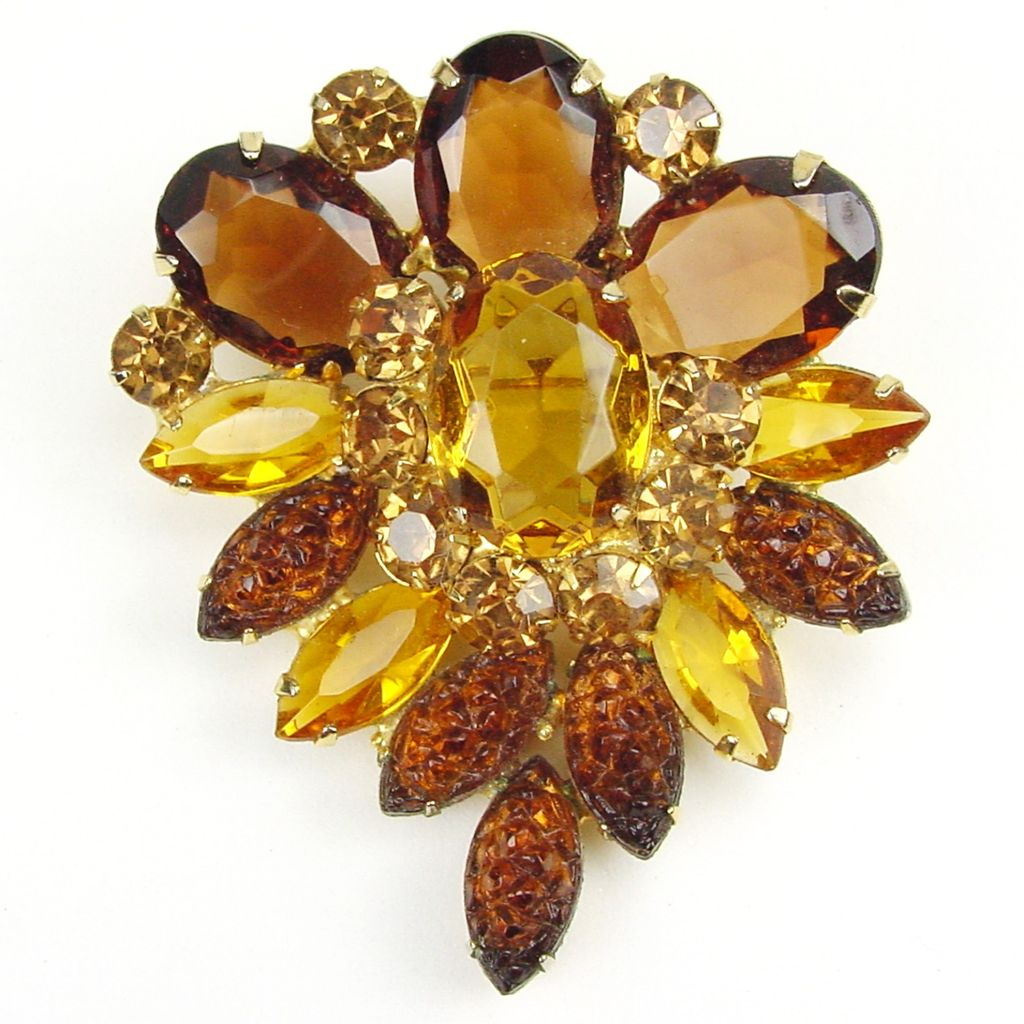 Juliana Large Topaz & Citrine RS Brooch with Art Glass Navettes