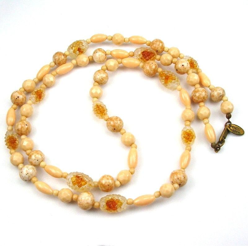 Miriam Haskell Monochromatic Necklace Beige Beads