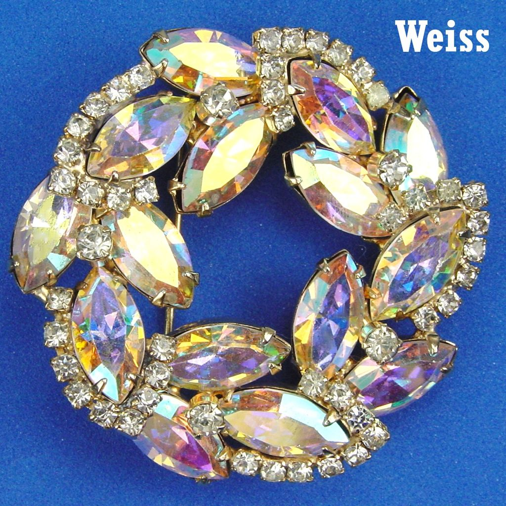 Weiss Wreath Shaped Brooch Aurora Borealis Navettes