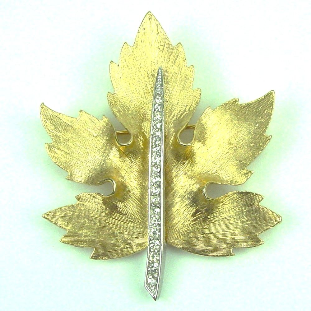 Textured Goldtone and Rhinestone Figural Maple Leaf Brooch