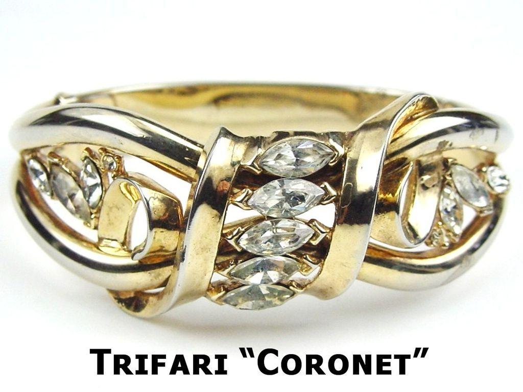 "Trifari ""Coronet"" Philippe Patented Rhinestone Clamp Bracelet"