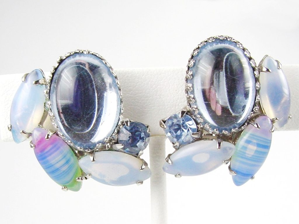 Vintage Large Mirrored Glass Cabochon Earrings with Faux Moonstone RS