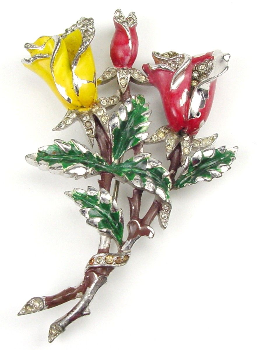 Gorgeous Red & Yellow Enamel & RS Roses Brooch