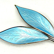 David Andersen Blue Basse-Taille Enamel Brooch Leaves
