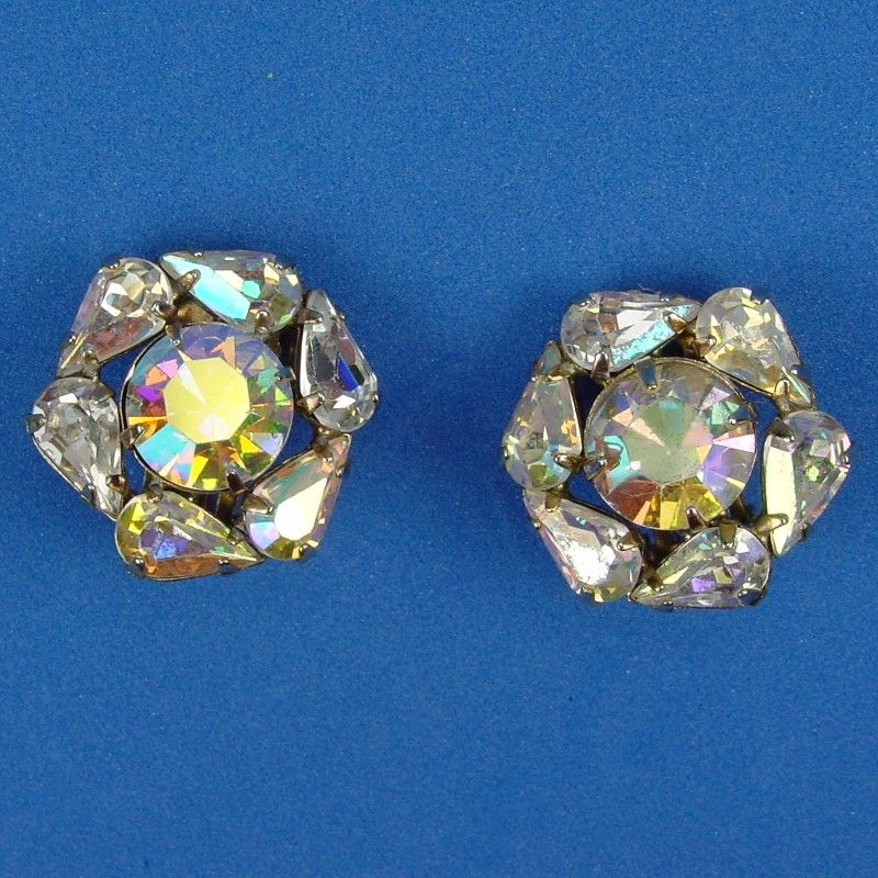 Weiss Sparkling Aurora Borealis Round Rhinestone Earrings