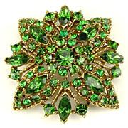 Gorgeous Emerald Green Monochromatic Rhinestone Brooch