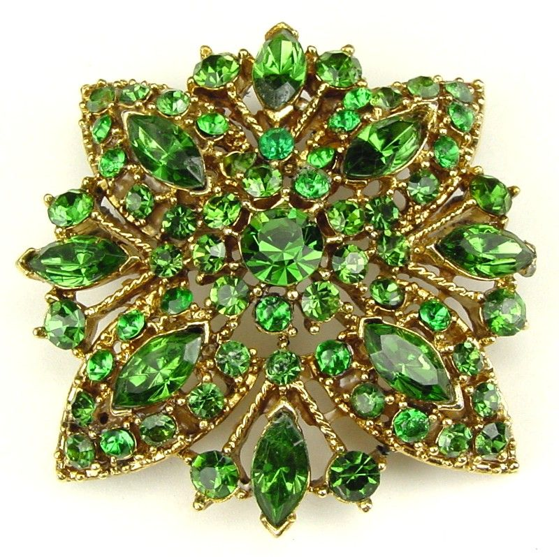 Gorgeous Emerald Green Monochromatic Rhinestone Brooch