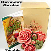 Harmony Kingdom Retired Double Pink Rose Box Figurine