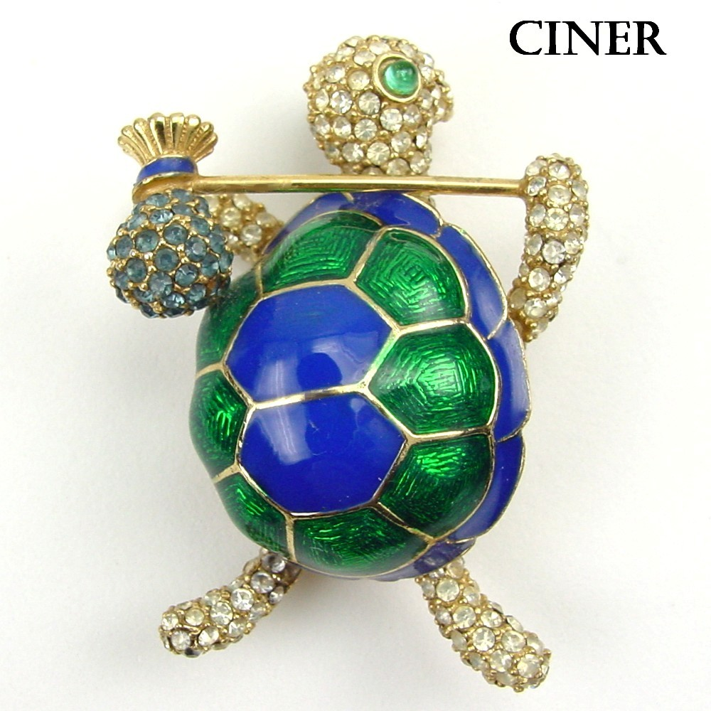 Ciner Blue & Green Enamel & RS Figural Hobo Turtle Brooch