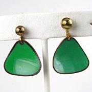 Hogan Bolas Green Enameled Triangular Earrings