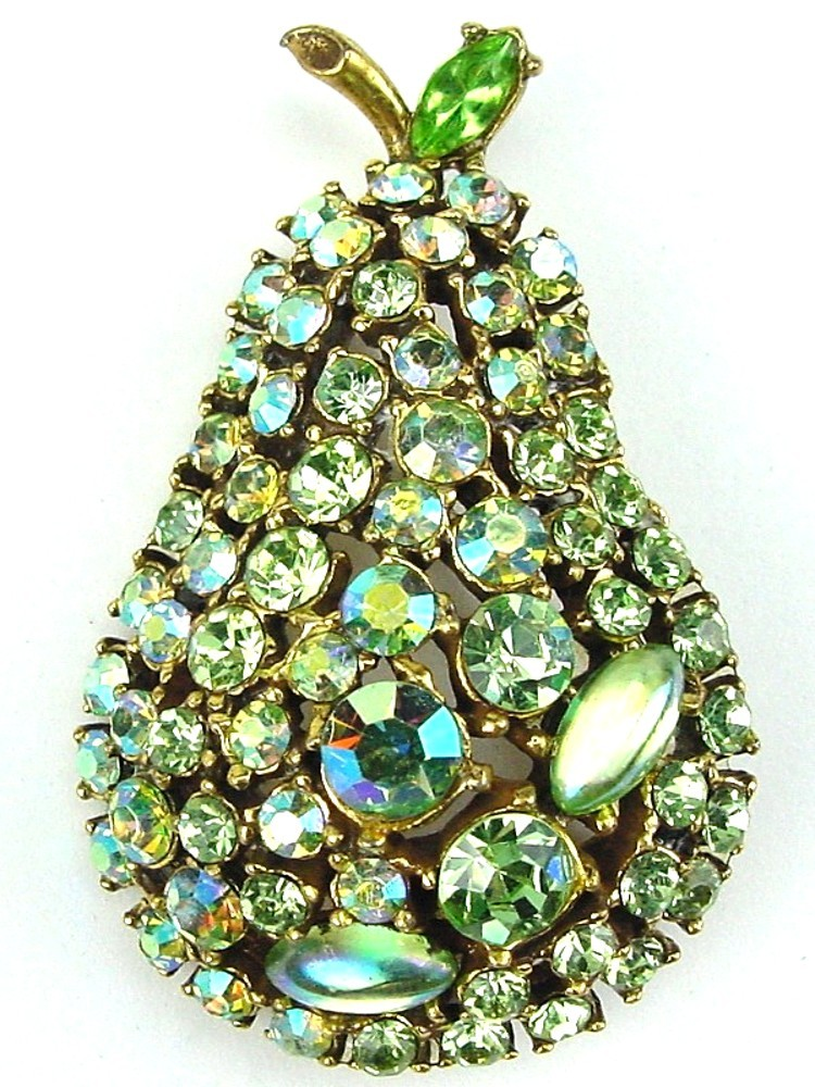 Shimmering Vintage Green RS Pear Brooch by ART