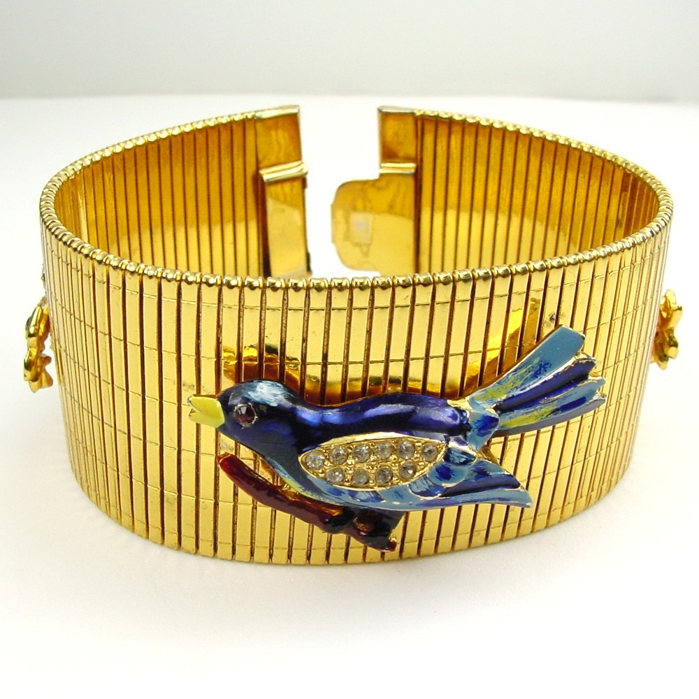 Ribbed Bracelet with Enamel & RS Applied Blue Birds