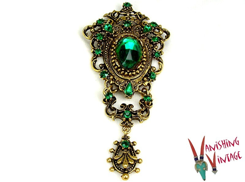 Large Shield Shaped Brooch/Pendant Green Rhinestones