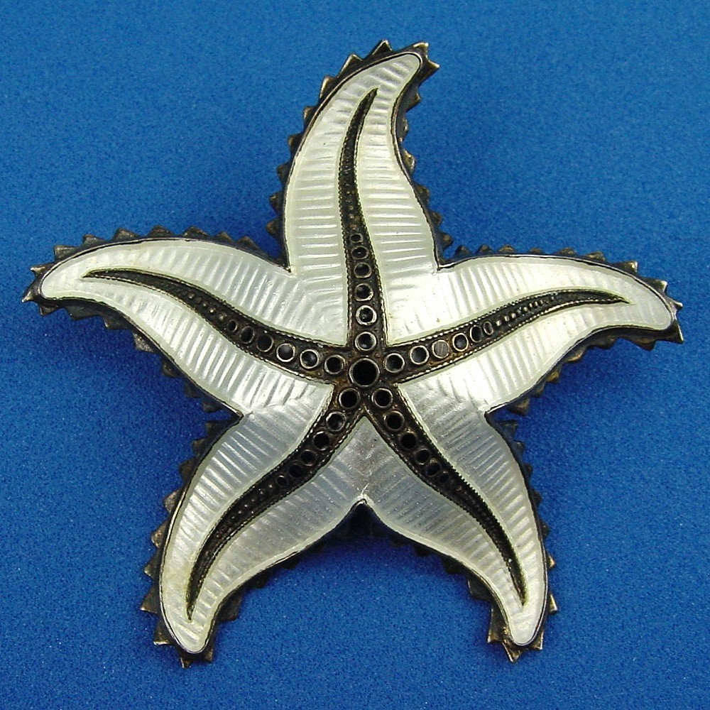 Ivar Holt Norway Guilloche Enamel White & Black Starfish Brooch