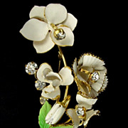 Austria Bouquet Brooch White & Green Enamel w Rhinestones