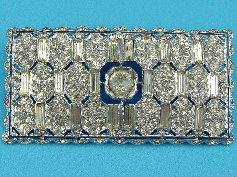 Decorative Art Deco Rectangular White Rhinestone Brooch