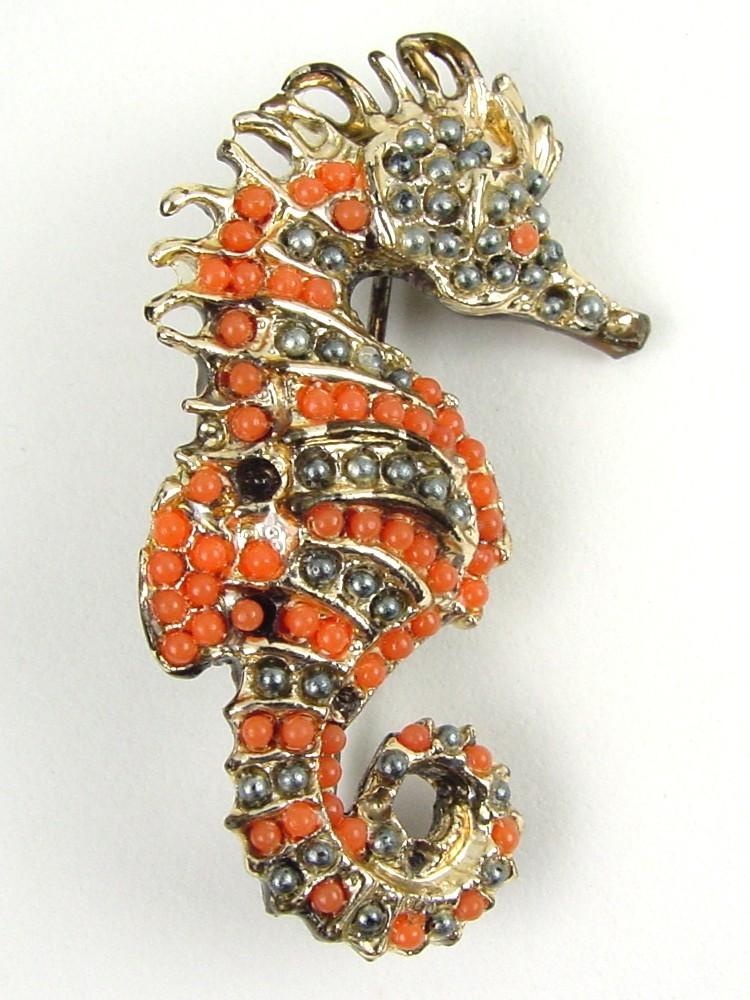 Vintage Seahorse Figural Brooch w Coral & Smoke Gray Beads