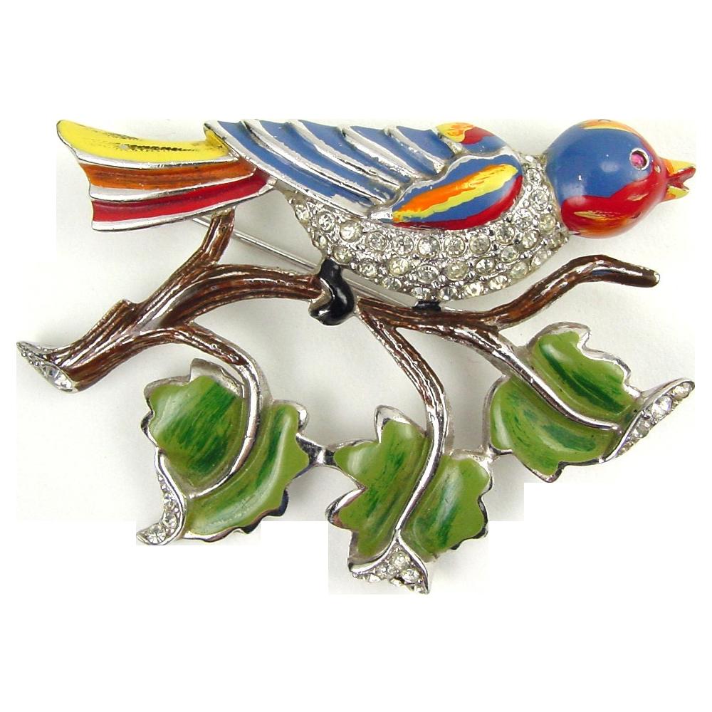 Early Coro Enamel and Rhinestone Bird on Branch Brooch