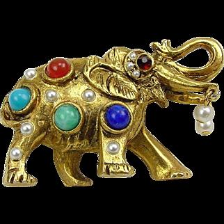 Adorable Vintage Adorned Figural  Elephant Brooch