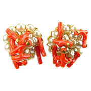 Vintage Layered Faux Pearls & Coral Clip on Earrngs