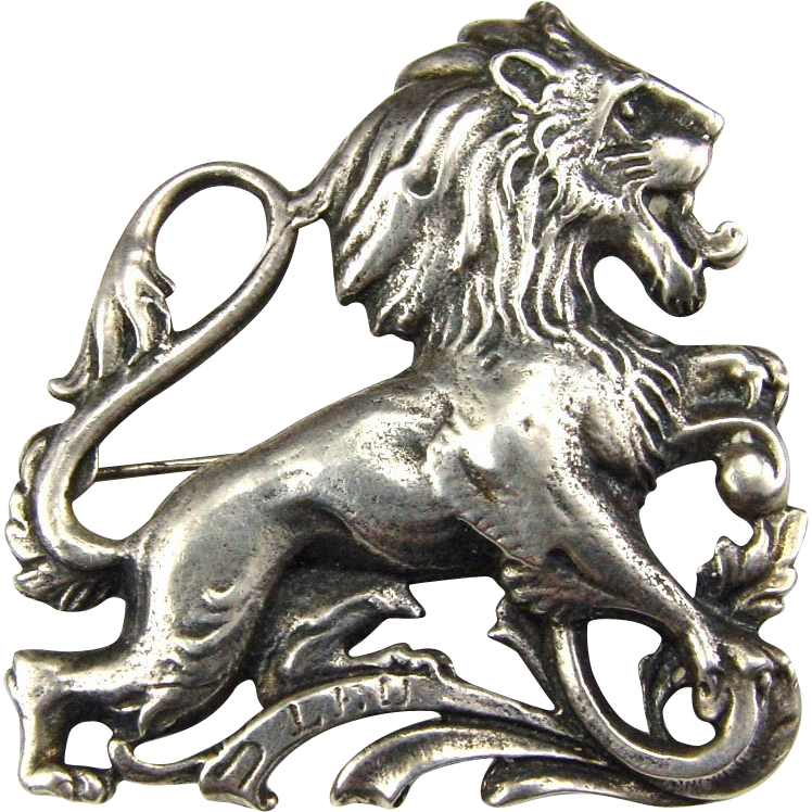 Cini Sterling Zodiac LEO Brooch Gothic Style Lion
