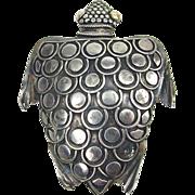 Stylized Sterling Sea Turtle Brooch