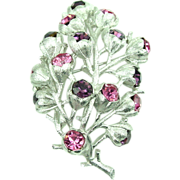 "Sarah Coventry Purple + Pink RS ""Wisteria"" Brooch"
