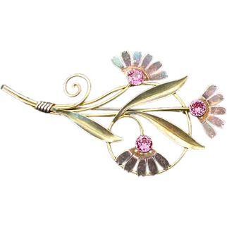 Vintage Van Dell Sterling Two Toned Vermeil Rhinestone Flower Brooch