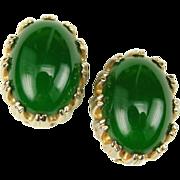 Reja Green Glass Open Backed Cabochon Earrings