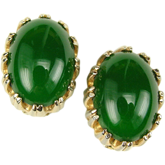 Reja Green Glass Open Backed Cabochon Earrings