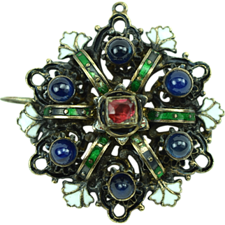 Antique Austro Hungarian Silver Brooch/Pendant Garnet & Blue Gumdrop RS