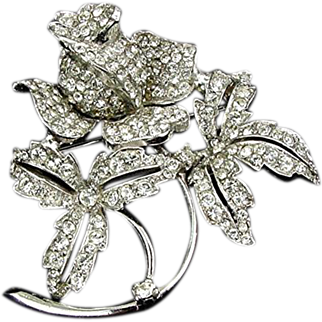 Magnificent Jomaz Brooch RS Encrusted 3D Wild Rose