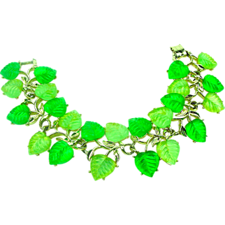 Wide Lucite Molded Leaves Bracelet Light & Dark Green