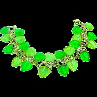 Wide Lucite Molded Leaves Bracelet Light & Dark Green