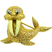 Adorable Jomaz Figural Walrus Brooch Enamel & RS