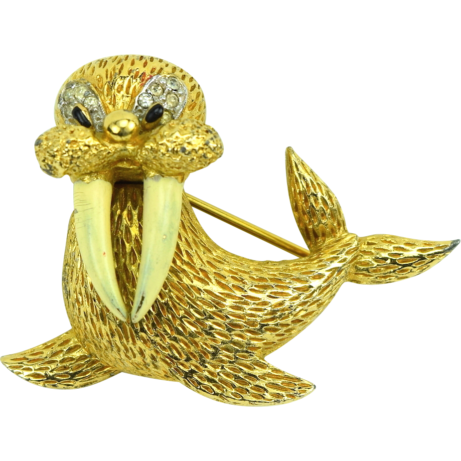 Adorable Jomaz Figural Walrus Brooch Enamel & RS