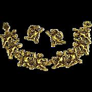Accessocraft Demi Parure Bracelet & Earrings Golden Cherubs